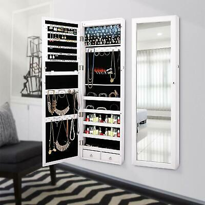 Wall Door Mounted Mirrored Jewelry Cabinet Armoire Storage Organizer LED Decors