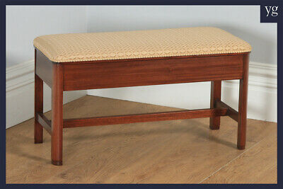 Antique English Art Deco Mahogany Upholstered Piano / Music / Duet Stool c1930