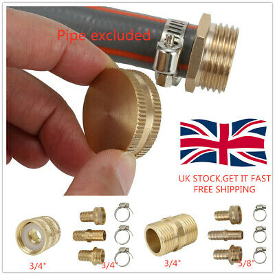 Double Male Female Water Tap Adapter Brass Garden Hose Pipe Connector Nut Cap