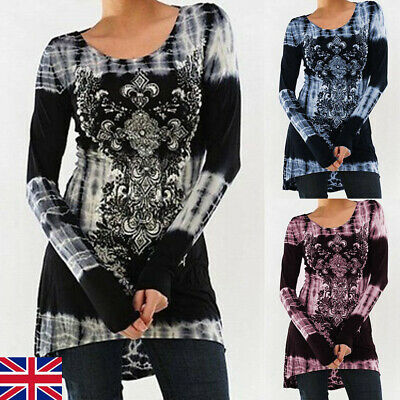 UK Women Casual Floral Ladies Tops Blouse Loose Baggy stretch Tunic T Shirts