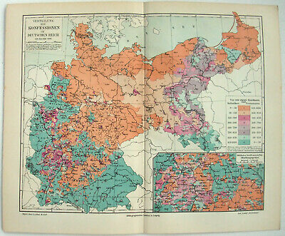 Distribution of Christian Denominatiions in Germany - 1904 Ethnographic Map