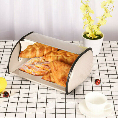 USA Bread Box Metal Bin Kitchen Container Cake Keeper Food Storage Roll Top Lid