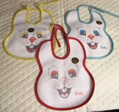 3 Bunny Motif Baby Bibs - Waterproof Back - NEW UNUSED