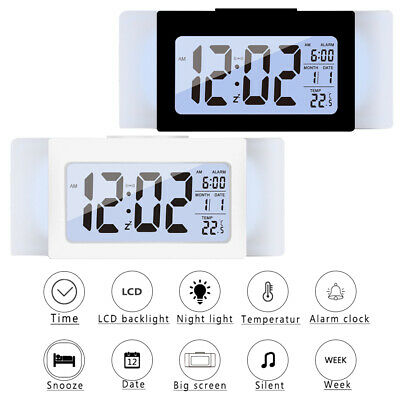 Funk LED Tischuhr Wecker Temperaturanzeige LCD Digital Wake Up Lichtsensor 130g