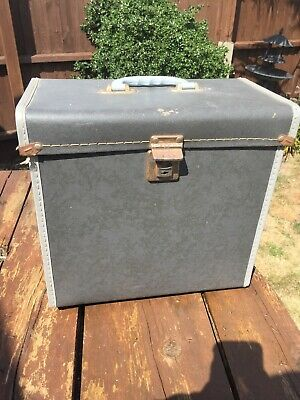 "Vintage Retro Record Storage Case/Box in Grey for LPs 12"" Vinyl . 1960s"