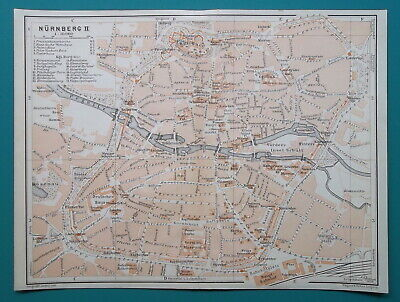 GERMANY Center of Nuremberg City Town Plan - 1910 MAP Baedeker