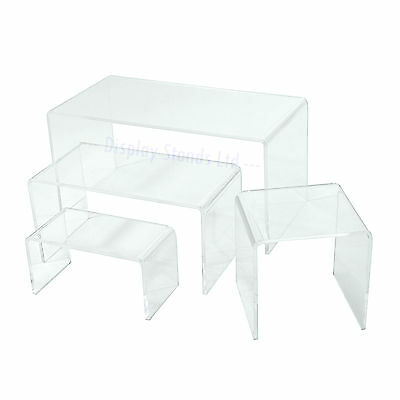 Acrylic Display Risers Plinths Stands in 4 Sizes 2 Colours Perspex 3mm (G131-4)