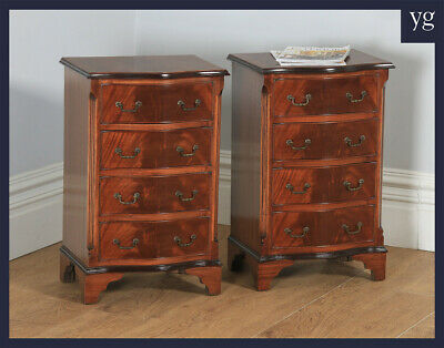 Pair English Georgian Regency Style Flame Mahogany Bachelor Serpentine Bedsides