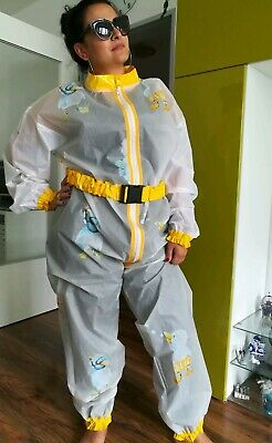 Adult Baby Strampler Overall Catsuit LACK PVC SCHLAFANZUG GUMMI Transparent XL