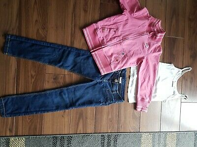 Girls Next Combo Age 8 Jeans, Age 9 Vest Top And Zip Up Sweater