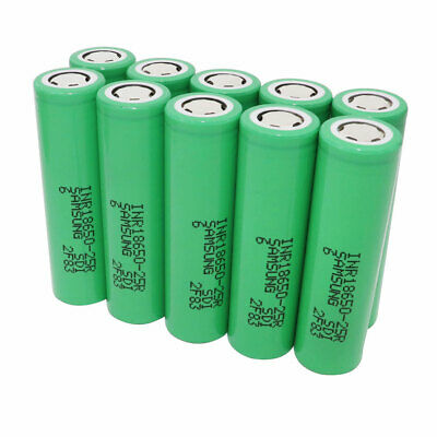 10X 18650 Batterie 2500mAh 3.7V Li-ion Rechargeable High Drain Battery for Vape
