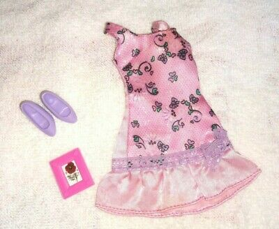 BARBIE DOLL PINK with tiny BOWS DRESS OUTFIT CLOTHES