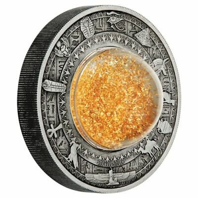 GOLDEN TREASURES OF ANCIENT EGYPT  - 2019 2 oz SILVER ANTIQUED COIN  - TUVALU