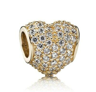 S925 Sterling Silver Charm Gold Pave Heart Charm Shine & Clear CZ  Fit EU Brclt