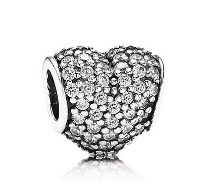 S925 Sterling Silver Charm  Pave Heart Charm Shine & Clear CZ  Fit EU Brclt