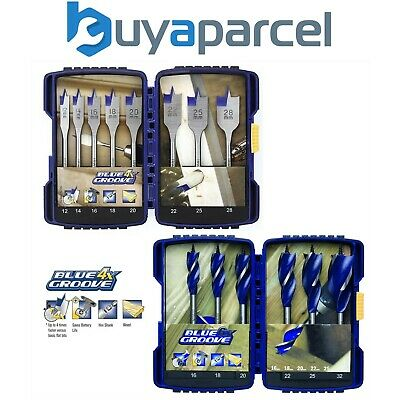 Irwin 14 Piece Power Drill Blue Groove Auger and Flat Bit Set - 4 x Faster Cut