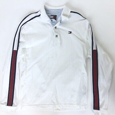 Tommy Hilfiger Small S White Youth Boys Long Sleeve Flag Logo Polo Shirt