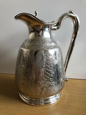 Early Antique Bulbous SILVER PLATED CLARET /WATER JUG Ornate