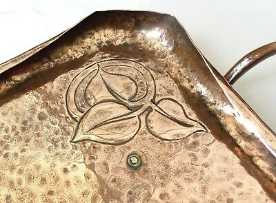 Antique Arts & Crafts Heavy Hammered Copper Tray / Floral Design Circa 1900