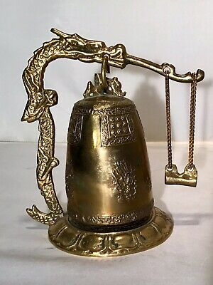 "6"" Vintage Asian Dragon Temple Prayer Bell Buddhist Chinese Tibetan Brass Bronze"