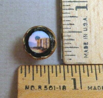 ANCIENT RUIN Antique Glass BUTTON, Transfer or Painted Scene, 1800s Set in Brass