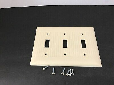 Vintage Sierra Electric Ivory Ribbed Bakelite 3 Gang Switch Cover w/ Screws