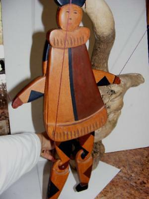 "WOOD Asian JESTER wooden Inlay Jointed MARIONETTE PUPPET 18.5"" Handmade Antique"