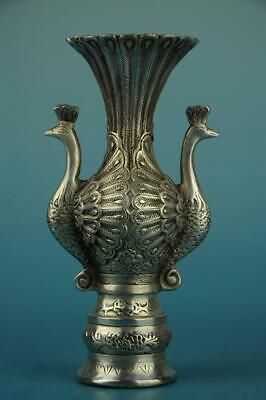 Old Chinese cooper-plating silver hand-carved Animal peacock vase d02
