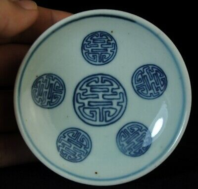"China old blue and white porcelain Hand painted Five""福""porcelain saucer a02"