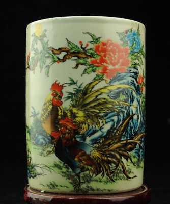 china old porcelain famille rose chicken and flower brush pot /tongzhi mark c01