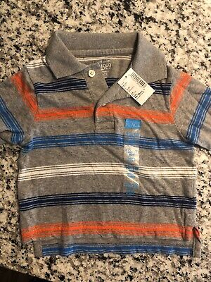 NWT - Infant Boys, The Children's Place, Gray Striped Polo Shirt, 12-18 Months