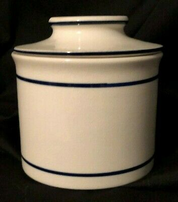 """Vintage Ceramic Ivory Blue Stripe French Butter Bell Crock Butter Keeper 4"""" tall"""