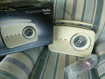 Bush ' Themed Traditional Radio Tr82Blu (Cream, Working, Boxed, Complete).