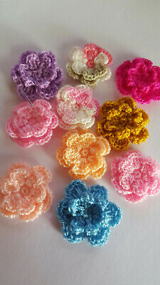 10pcs - Mixed Colours 2.5cm Double Layer Crochet Flowers