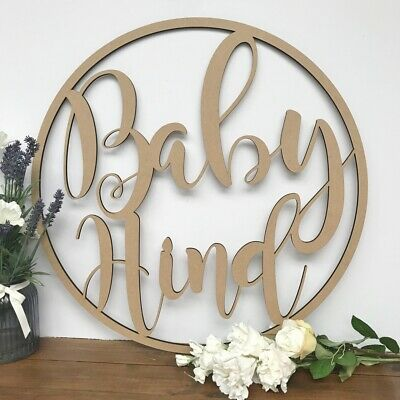 Large Personalised Hoop Baby Shower Event Nursery Decor Sign Plaque