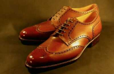 Mens Handmade Shoes Genuine Tan Leather Cognac Derby Oxford Brogue Lace Up Boots