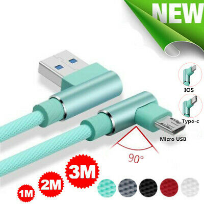 90° Elbow Braided Charger IOS Micro USB C Fast Charging Cable For iphone Samsung