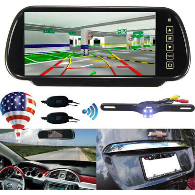 """7"""" LCD Mirror Monitor+2.4G Wireless Night Vision Car Reverse RearView Backup Cam"""