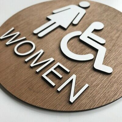 Wood Womens & Mens Disabled Toilet WC Signage Business Door Signs
