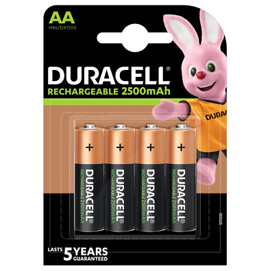 4 piles AA DURACELL rechargeables HR6 2500 mAh