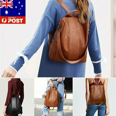 Women's Leather Backpack Anti-Theft Rucksack School Shoulder Bag Black/Brown %N