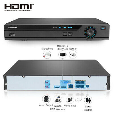 Refurbished ANNKE Security 4CH HD 1080P NVR HDMI for POE Security Camera System