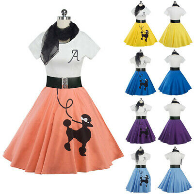Retro Poodle Skirt Ladies Fancy Dress 50s 60s Rock n Roll Womens Adults Costume