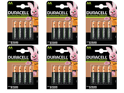 24 piles AA DURACELL rechargeables HR6 2500 mAh