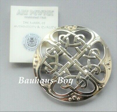 """Art Pewter KILT PLAID BROOCH PEWTER """"CATHEDRAL"""" MADE IN SCOTLAND HIGHLAND BOXED"""