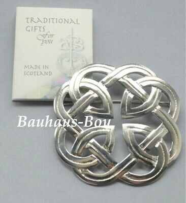 Art Pewter KILT PLAID BROOCH PEWTER CELTIC INTERLACE MADE IN SCOTLAND BOXED NEW