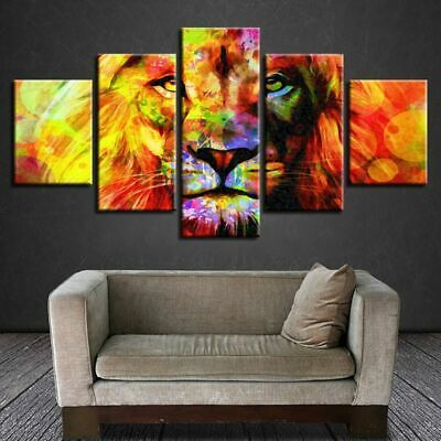 Unframed 5PCS Lion Modern Oil Painting Art Canvas Print Picture Wall Home Decor