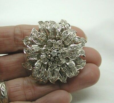Beautiful Antique French Heavy14ct Gold large Diamond Set Tremble Flower Brooch