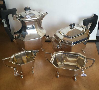 Vintage 1940s Solid Silver 4-Piece Tea Service Hallmarked Sheffield OFFERS?