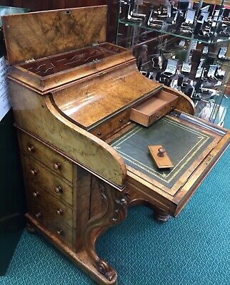 Beautiful Rare Shape Ladies Davenport Desk. Burr Walnut And Original.Fabulous.